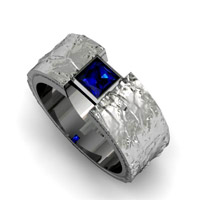 Patterned Sapphire Engagement Ring